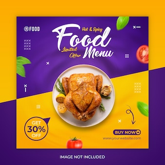 Postagem de mídia social de fast food ou modelo de banner
