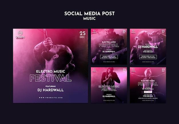Postagem de mídia social de festival de música eletrônica