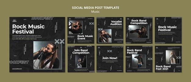 Postagem de mídia social de festival de música rock