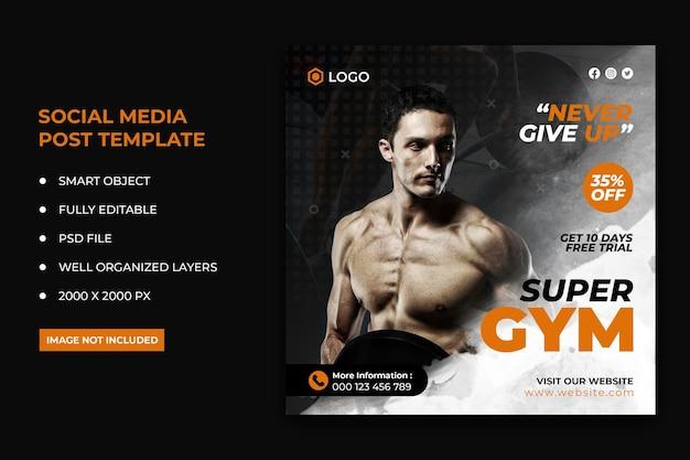 Postagem de mídia social de folheto de condicionamento físico e banner da web