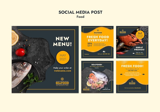 Postagem de mídia social de frutos do mar frescos
