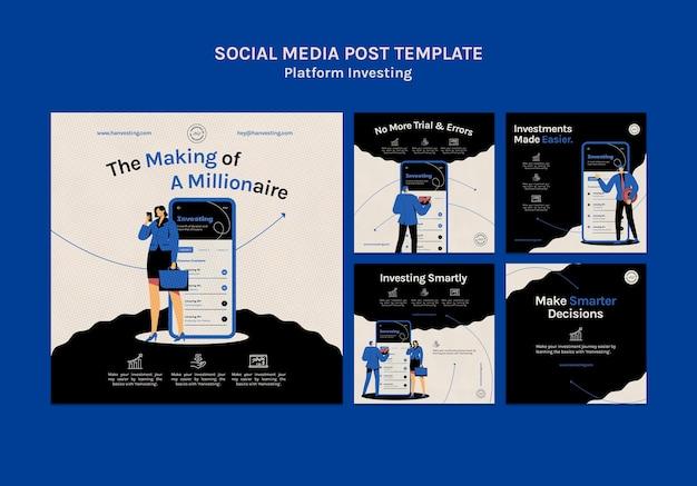 Postagem de mídia social de investimento em plataforma