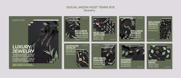 Postagem de mídia social de modelo de joalheria