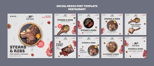 Postagem de mídia social de modelo de restaurante de carnes