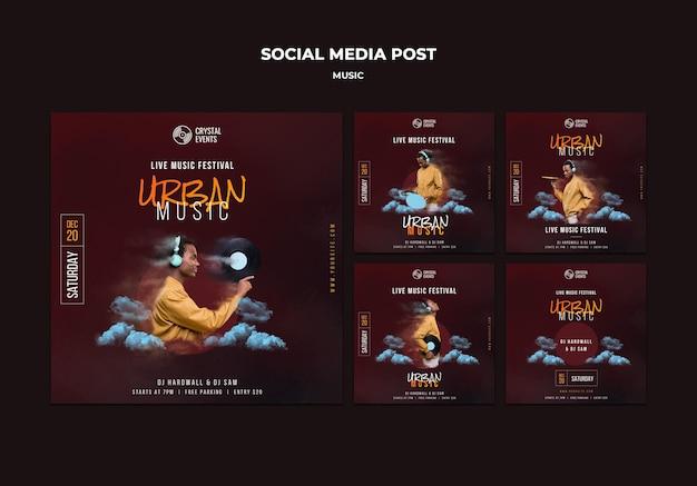 Postagem de mídia social de música urbana