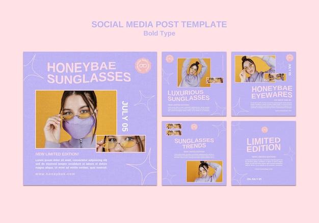 Postagem de mídia social de óculos de sol em negrito