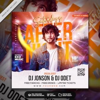 Postagem de mídia social de panfleto de festa do club dj e modelo de banner