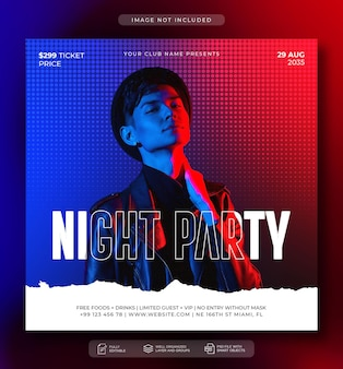Postagem de mídia social de panfleto de festa do dj e modelo de banner na web