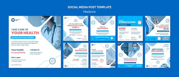 Postagem de mídia social de prevenção covid19 de medicamento