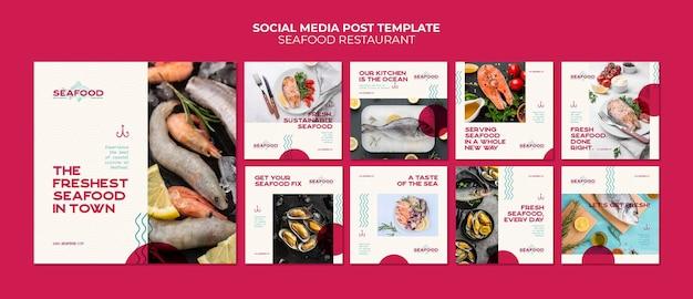 Postagem de mídia social de restaurante de frutos do mar