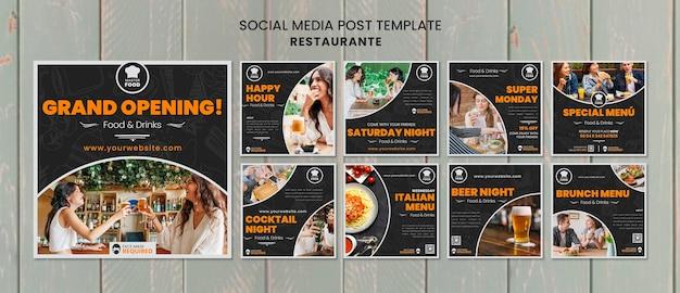 Postagem de mídia social de restaurante