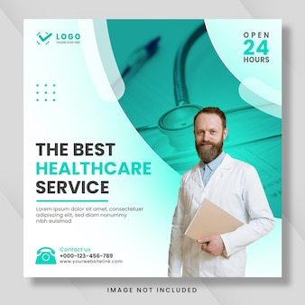 Postagem de mídia social de saúde médica ou design de banner de promoção web quadrada