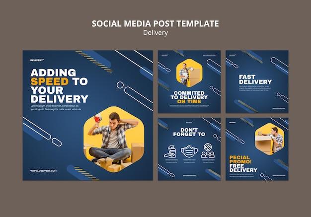 Postagem de mídia social de serviço de entrega
