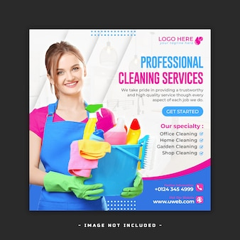Postagem de mídia social de serviço de limpeza doméstica ou modelo premium