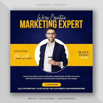 Postagem de mídia social de streaming ao vivo de marketing digital corporativo ou modelo de banner instagram