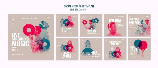 Postagem de mídia social de transmissão ao vivo Psd Premium