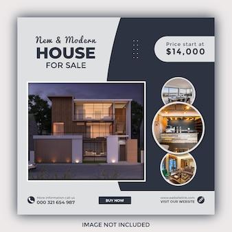 Postagem de mídia social de venda de casa imobiliária e banner da web