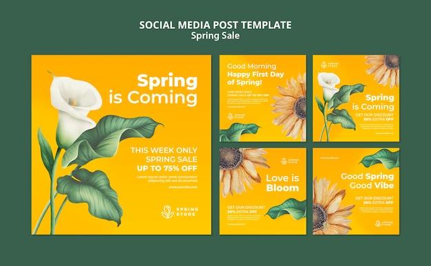 Postagem de mídia social de venda de primavera