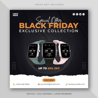 Postagem de mídia social de venda de relógio preto sexta-feira e modelo psd de banner do instagram