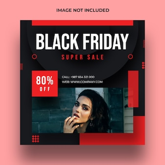 Postagem de mídia social de venda especial da black friday e modelo de banner da web