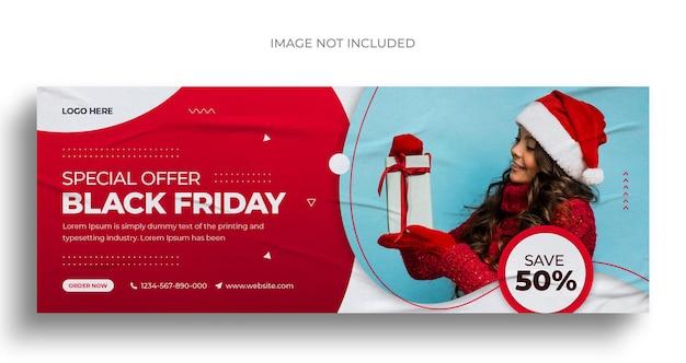 Postagem de mídia social de venda na sexta-feira negra, banner da web ou modelo de capa do facebook para postar no instagram