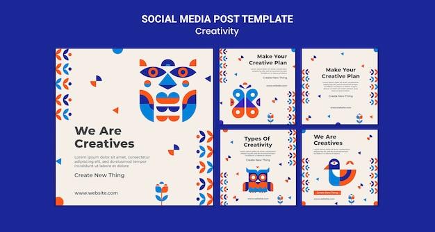 Postagem de mídia social do conceito de criatividade