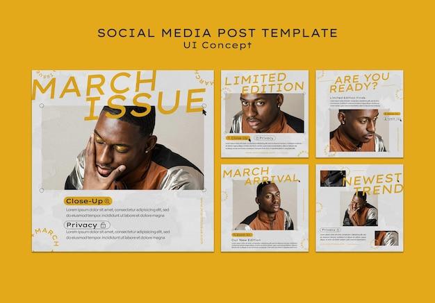Postagem de mídia social do conceito de interface do usuário