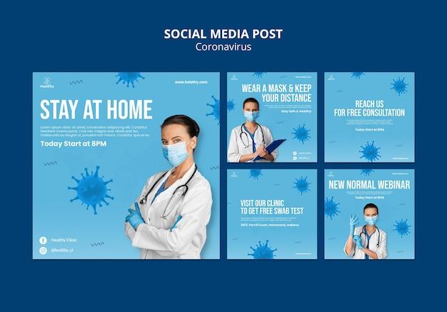 Postagem de mídia social do coronavirus
