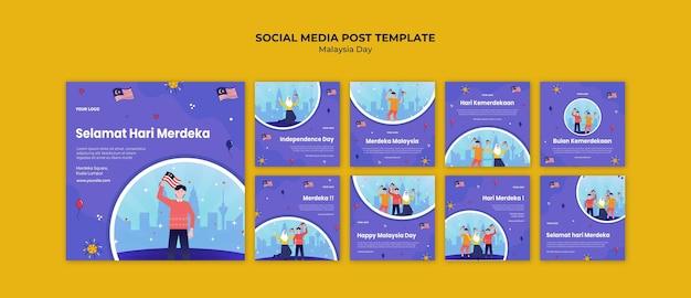 Postagem de mídia social do dia da independência da malásia