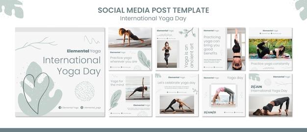 Postagem de mídia social do dia internacional da ioga