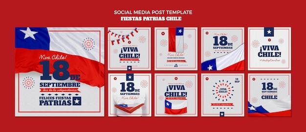 Postagem de mídia social do dia internacional do chile