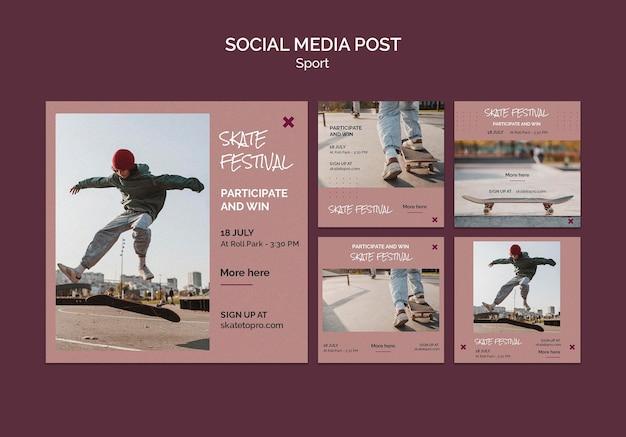 Postagem de mídia social do festival de skate
