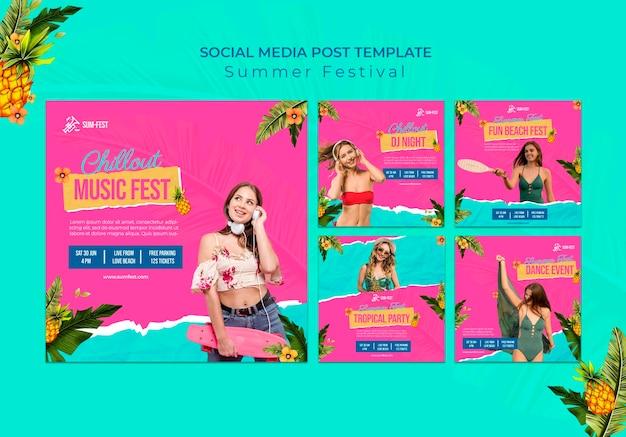 Postagem de mídia social do festival de verão