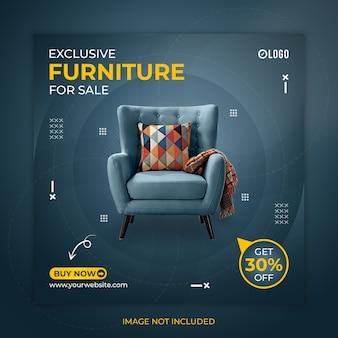 Postagem de mídia social do furniture ou modelo de banner