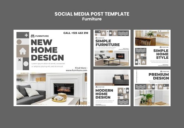 Postagem de mídia social do furniture