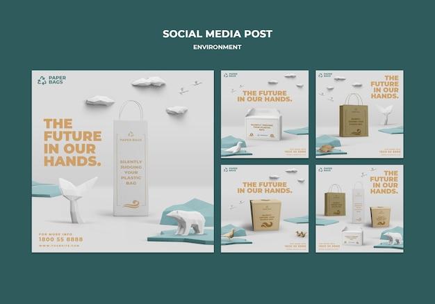 Postagem de mídia social do meio ambiente