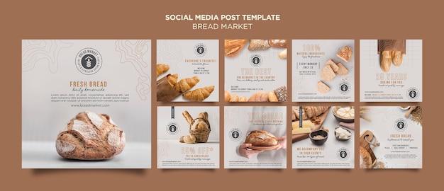 Postagem de mídia social do mercado de pão