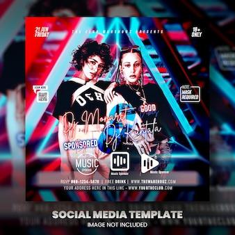 Postagem de mídia social do panfleto de festa de dj do clube
