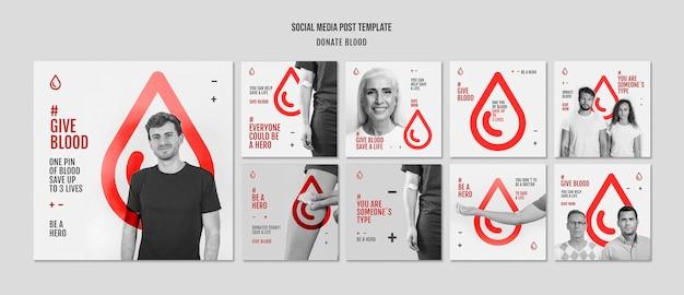 Postagem de mídia social doe sangue para campanha