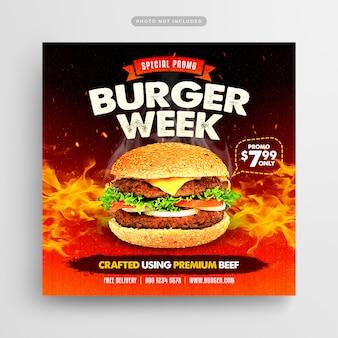Postagem de mídia social e banner da web da burger week