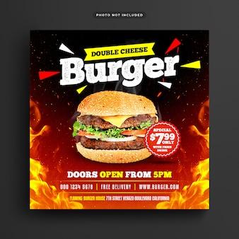 Postagem de mídia social e banner da web em burger restaurant