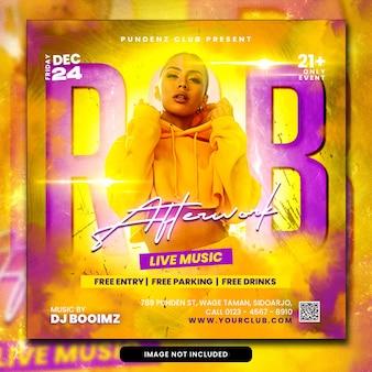 Postagem de mídia social e banner da web para panfleto de festa de dj do clube psd