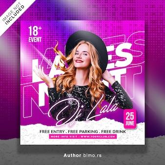 Postagem de mídia social e banner da web para panfleto de festa de dj