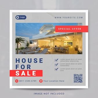 Postagem de mídia social e modelo de banner de propriedade de interior de imóveis