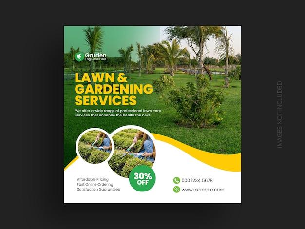 Postagem de mídia social e modelo de banner na web para jardim de gramado ou serviço de paisagismo