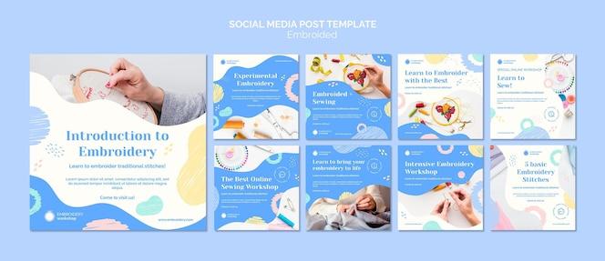 Postagem de mídia social embroided