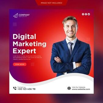Postagem de mídia social empresarial de marketing digital e modelo de banner de postagem do instagram