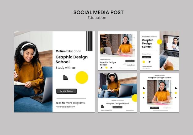Postagem de mídia social escolar de design gráfico