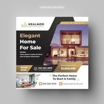 Postagem de mídia social imobiliária e modelo de banner da web