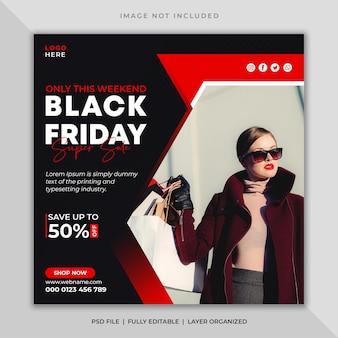 Postagem de mídia social negra de sexta-feira ou modelo de panfleto quadrado de banner do instagram